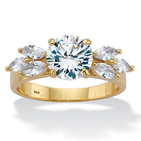 Round and Marquise-Cut Cubic Zirconia 14k Gold over Sterling Silver 2.90 TCW Engagement Ring at PalmBeach Jewelry