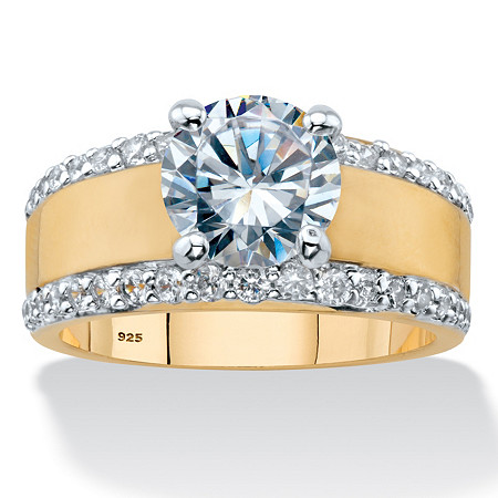 Round Cubic Zirconia Wide Band Engagement Ring 3.21 TCW in 14k Gold over Sterling Silver at PalmBeach Jewelry