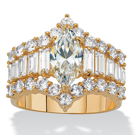 Marquise and Baguette-Cut Cubic Zirconia 14k Gold-Plated 5.08 TCW Engagement Ring at PalmBeach Jewelry