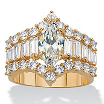 5.08 TCW Marquise and Baguette-Cut Cubic Zirconia 14k Gold-Plated Engagement Ring