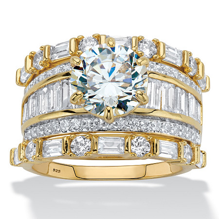 Round and Baguette-Cut Cubic Zirconia 3-Piece Wedding Ring Set 6.38 TCW in 14k Gold over Sterling Silver at PalmBeach Jewelry