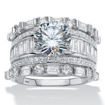 6.38 TCW Round and Baguette-Cut Cubic Zirconia Platinum over Sterling Silver 3-Piece Wedding Ring Set