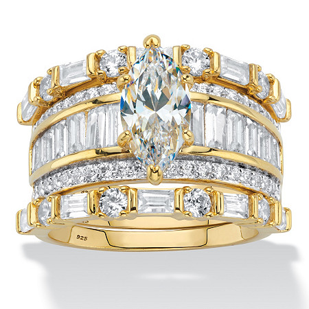 Marquise-Cut Cubic Zirconia 3-Piece Wedding Ring Set 5.38 TCW in 14k Gold over Sterling Silver at PalmBeach Jewelry