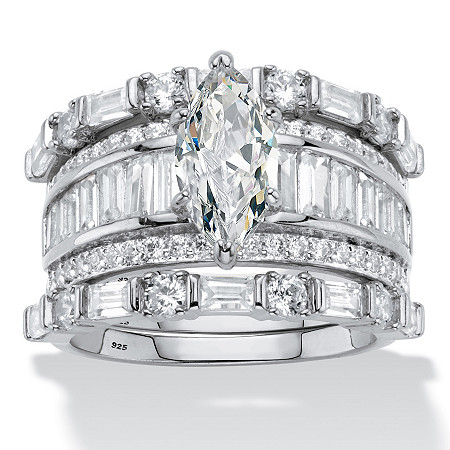 Marquise-Cut Cubic Zirconia 3-Piece Wedding Ring Set 5.38 TCW in Platinum over Sterling Silver at PalmBeach Jewelry