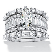 SETA JEWELRY Marquise-Cut Cubic Zirconia 3-Piece Wedding Ring Set 5.38 TCW in Platinum over Sterling Silver