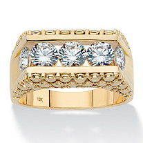 Men's Round Cubic Zirconia Stippled Bridge Ring 2.50 TCW in Solid 10k Yellow Gold