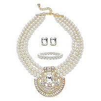 "Crystal and Simulated Pearl Gold Tone 3-Piece Triple-Strand Necklace, Stud Earring and Stretch Bracelet Set 17""-19"" (8mm)"