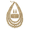 Related Item Graduated Beaded Gold Tone Triple-Strand 3-Piece Necklace, Earring and Stretch Bracelet Set 17