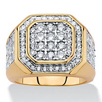 Men's Round Cubic Zirconia Octagon Grid Ring 2.61 TCW Gold-Plated