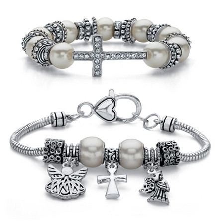 Crystal and Simulated Pearl Inspirational 2-Piece Cross and Angel Charm Antiqued Silvertone Beaded Stretch Bracelet Set 7