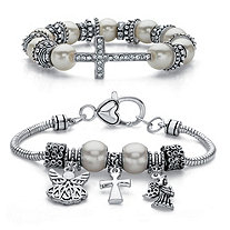 Crystal and Simulated Pearl Inspirational 2-Piece Cross and Angel Charm Antiqued Silvertone Beaded Stretch Bracelet Set 7""