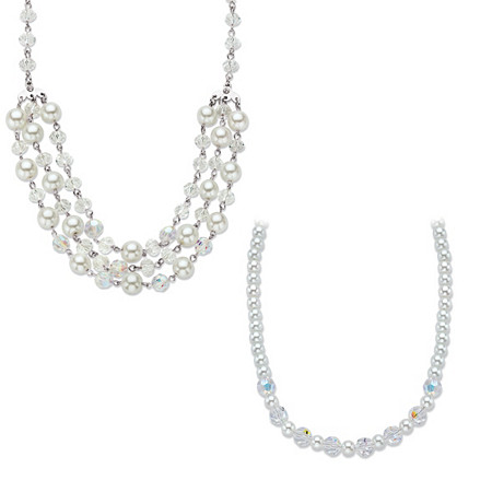 Aurora Borealis Crystal and Simulated Pearl Silvertone 2-Piece Beaded Necklace Set 17