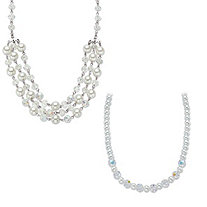 "Aurora Borealis Crystal and Simulated Pearl Silvertone 2-Piece Beaded Necklace Set 17""-19"""