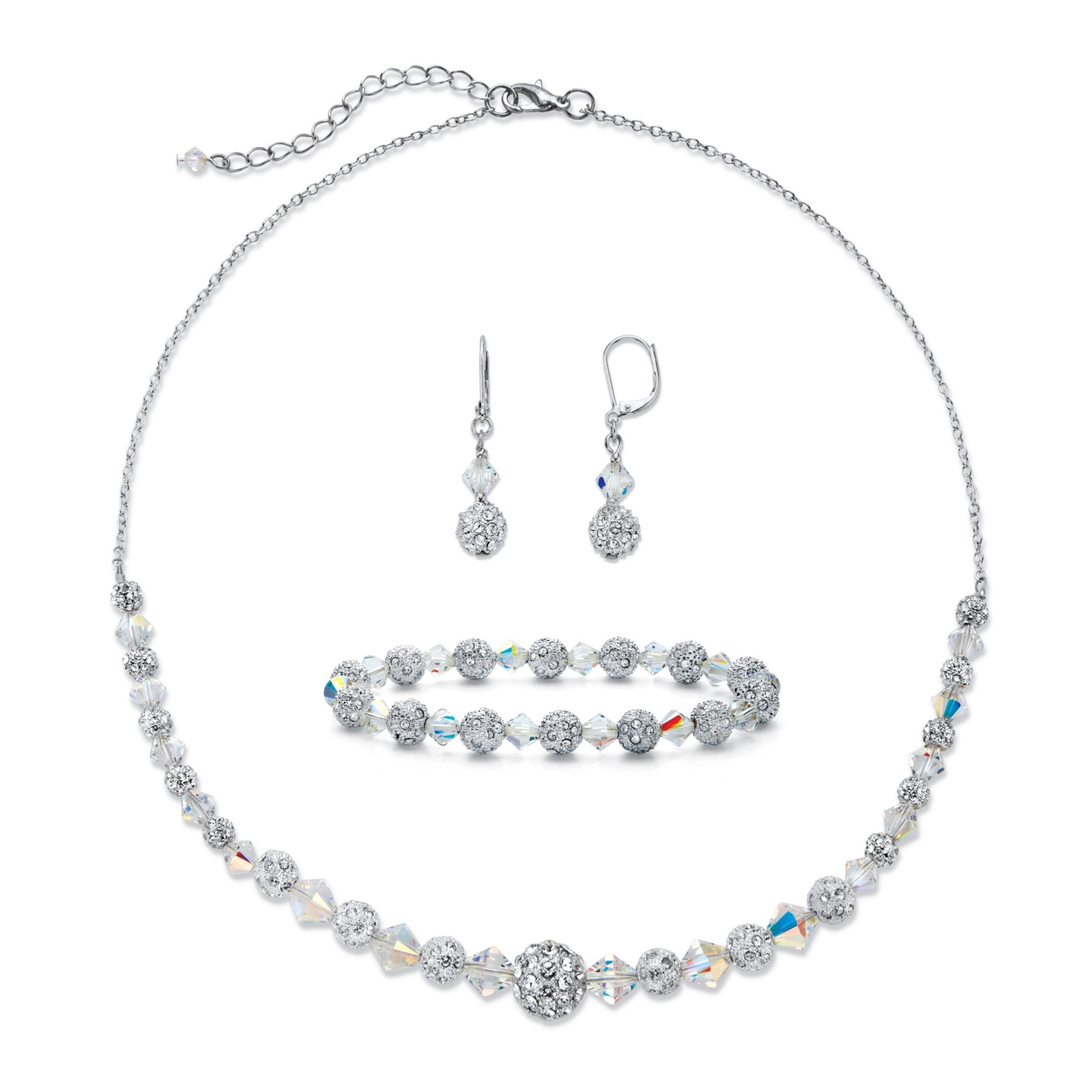 8ba96fb86 3.07 TCW Pave Cubic Zirconia and Aurora Borealis Crystal Silvertone 3-Piece  Beaded Earring, Bracelet and Necklace Set 17