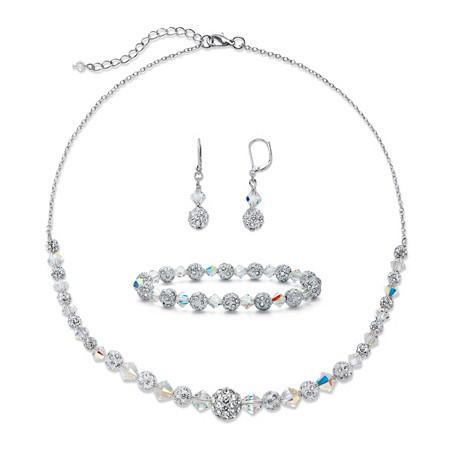 3.07 TCW Pave Cubic Zirconia and Aurora Borealis Crystal Silvertone 3-Piece Beaded Earring, Bracelet and Necklace Set 17