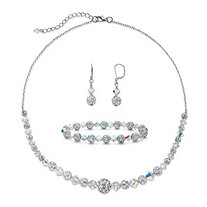 "3.07 TCW Pave Cubic Zirconia and Aurora Borealis Crystal Silvertone 3-Piece Beaded Earring, Bracelet and Necklace Set 17""-19"""