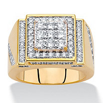 Men's Round Cubic Zirconia Step Top Grid Ring 1.80 TCW 14k Gold-Plated