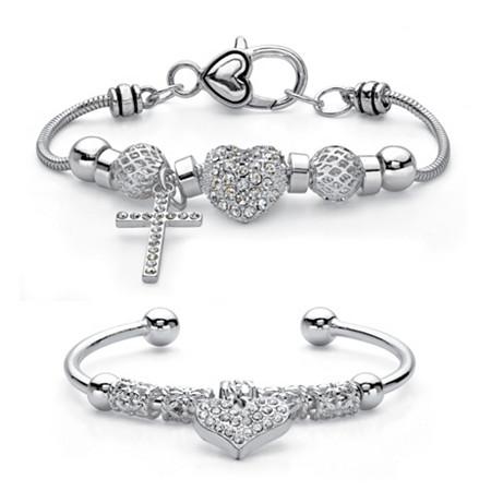 Crystal Silvertone Cross and Heart Charm 2-Piece Bali-Style Beaded Bracelet Set 7