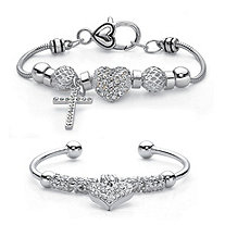 Crystal Silvertone Cross and Heart Charm 2-Piece Bali-Style Beaded Bracelet Set 7""