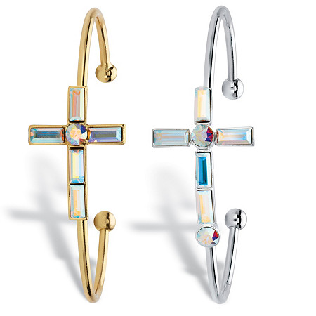Aurora Borealis Crystal Cross Silvertone and Gold Tone 2-Piece Cuff Bracelet MADE WITH SWAROVSKI ELEMENTS 7