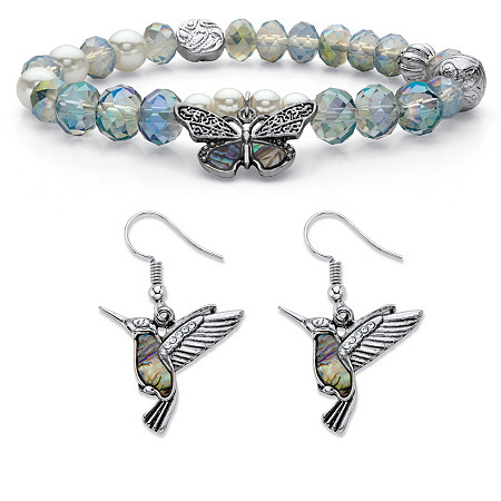 Crystal and Simulated Pearl Antiqued Silvertone Beaded Stretch Butterfly Bracelet and Hummingbird Drop Earrings 7
