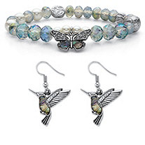 Crystal and Simulated Pearl Antiqued Silvertone Beaded Stretch Butterfly Bracelet and Hummingbird Drop Earrings 7""