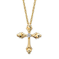 Diamond Accent Fleur-de-Lis 14k Gold-Plated Cross Pendant Necklace 18