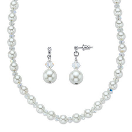 Aurora Borealis Crystal and Simulated Pearl Beaded Necklace and Earring Set MADE WITH SWAROVSKI ELEMENTS in Silvertone 18