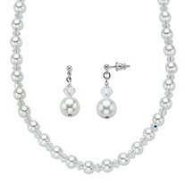 "Aurora Borealis Crystal and Simulated Pearl Beaded Necklace and Earring Set MADE WITH SWAROVSKI ELEMENTS in Silvertone 18""-20"""