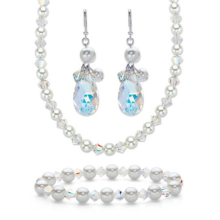 Crystal and Simulated Pearl Silvertone 3-Piece Drop Earring, Stretch Bracelet and Necklace Set 20