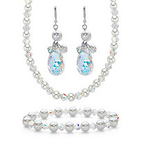 "Crystal and Simulated Pearl Silvertone 3-Piece Drop Earring, Stretch Bracelet and Necklace Set 20""-22"""