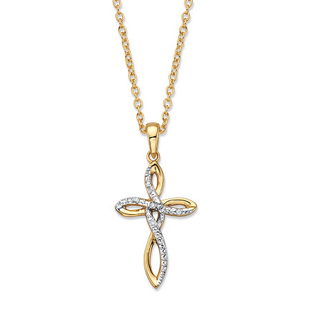 """Diamond Accent Looped Cross Pendant Necklace 14k Gold-Plated18""""-20"""" at PalmBeach Jewelry"""