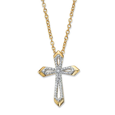 """Diamond Accent Beveled Cross Pendant Necklace 14k Gold-Plated 18""""-20"""" at PalmBeach Jewelry"""