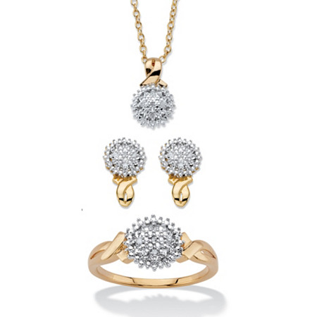 """Diamond Accent Cluster 3-Piece Earring, Ring and Necklace Set 1/10 TCW 14k Gold-Plated 18""""-20"""" at PalmBeach Jewelry"""