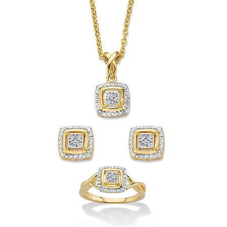 "1/10 TCW Diamond Accent 14k Gold-Plated Two-Tone Squared Cluster 3-Piece Earring, Ring and Necklace Set 18""-20"" at PalmBeach Jewelry"