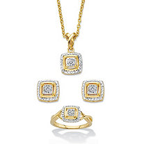 "1/10 TCW Diamond Accent 14k Gold-Plated Two-Tone Squared Cluster 3-Piece Earring, Ring and Necklace Set 18""-20"""