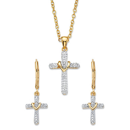 """Diamond Accent Gold-Plated 2-Piece Cross Earring and Necklace Set 18""""-20"""" at PalmBeach Jewelry"""