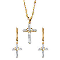 "Diamond Accent 14k Gold-Plated 2-Piece Cross Earring and Necklace Set 18""-20"""
