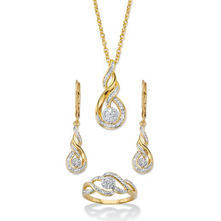 """Diamond Accent Journey Cluster 3-Piece Earring, Ring and Necklace Set 1/10 TCW 14k Gold-Plated 18""""-20"""" at PalmBeach Jewelry"""