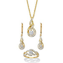 "Diamond Accent Journey Cluster 3-Piece Earring, Ring and Necklace Set 1/10 TCW 14k Gold-Plated 18""-20"""