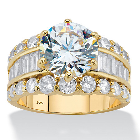 Round Cubic Zirconia Triple-Row Engagement Ring 7.20 TCW in 14k Gold over Sterling Silver at PalmBeach Jewelry
