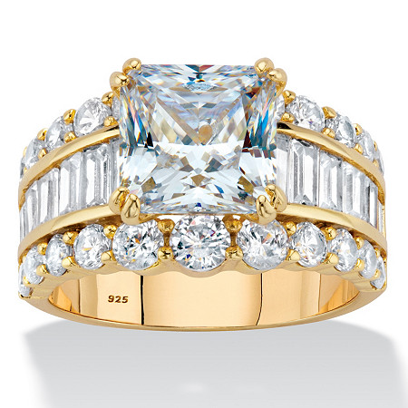 5.34 TCW Princess-Cut Cubic Zirconia 14k Gold over Sterling Silver Triple-Row Engagement Ring at PalmBeach Jewelry