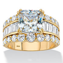5.34 TCW Princess-Cut Cubic Zirconia 14k Gold over Sterling Silver Triple-Row Engagement Ring