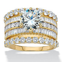 Round Cubic Zirconia 3-Piece Multi-Row Wedding Ring Set 6.11 CTW 14k Gold-Plated