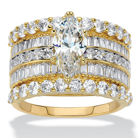Marquise-Cut Cubic Zirconia 3-Piece Multi-Row Wedding Ring Set 5.11 TCW 14k Gold-Plated at PalmBeach Jewelry
