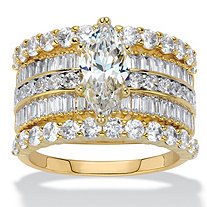 SETA JEWELRY Marquise-Cut Cubic Zirconia 3-Piece Multi-Row Wedding Ring Set 5.11 TCW 14k Gold-Plated