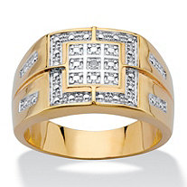 Men's Diamond Accent Two-Tone 18k Gold-Plated Grid Ring