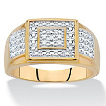 SETA JEWELRY Men's Diamond Accent Two-Tone 18k Gold-Plated Grid Ring