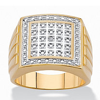Men's Diamond Accent 18k Gold-Plated Two-Tone Grooved Grid Ring