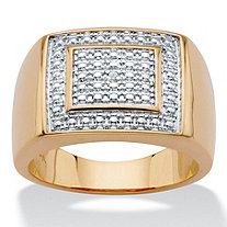 SETA JEWELRY Men's Diamond Accent 18k Gold-Plated Two-Tone Polished Grid Ring